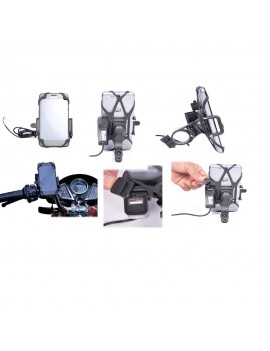 Motorcycle Bike Mobile Holder Mount With Built in USB Charger Mobile Charger