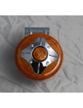 Motopart Wooden Yellow-Chrome Car Steering Knob- Universal For All Cars