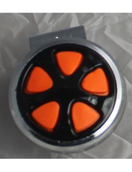 Motopart Designer Orange-Black And Chrome Car Steering Knob- Universal For All Cars