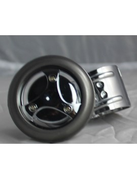 Motopart Designer Nut Chrome-Grey Car Steering Knob- Universal For All Cars