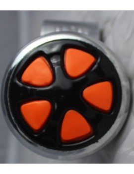 Motopart Designer Orange-Black Car Steering Knob- Universal For All Cars