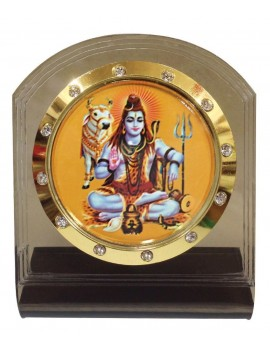 Gfaith Bulb Centre Hindu God Idol Shankar Temple Frame for Car Dashboard (AP-116)
