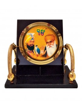 Gfaith Bulb Centre Sikh God Idol Guru Gobind Singh & Guru Nanak Dev Temple Chair Frame for Car Dashboard