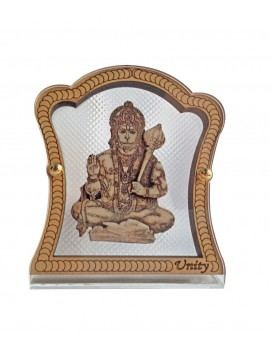Gfaith Unity Hindu God Idol Hanuman Ji Wooden & Glass Temple for Car Dashboard