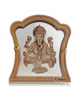Gfaith Hindu God Idol Ganesh Ji Wooden & Glass Temple for Car Dashboard