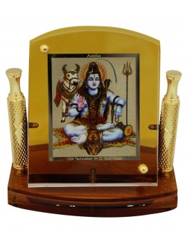 Gfaith Aastha Lord Shiva God Idol 24k Gold Plated Car Frame