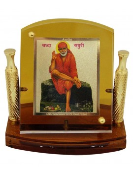 Gfaith Aastha Sai Baba God Idol 24k Gold Plated Car Frame