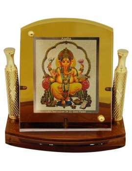 Gfaith Aastha Lord Ganesha God Idol 24k Gold Plated Car Frame