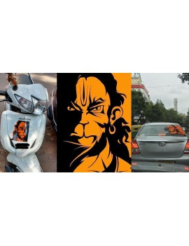 Orange Color Lord Hanuman Sticker For Two Wheeler and Four Wheeler