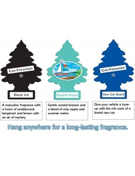 Little Tree Car Air Freshener 3Pc Combo - Black Ice + Bayside Breeze + New Car Scent With Car Cleaning Hand Gloves