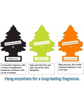 Little Tree Car Air Freshener 3Pc Combo - Black Ice + Margarita + Peachy Peach With Car Cleaning Hand Gloves